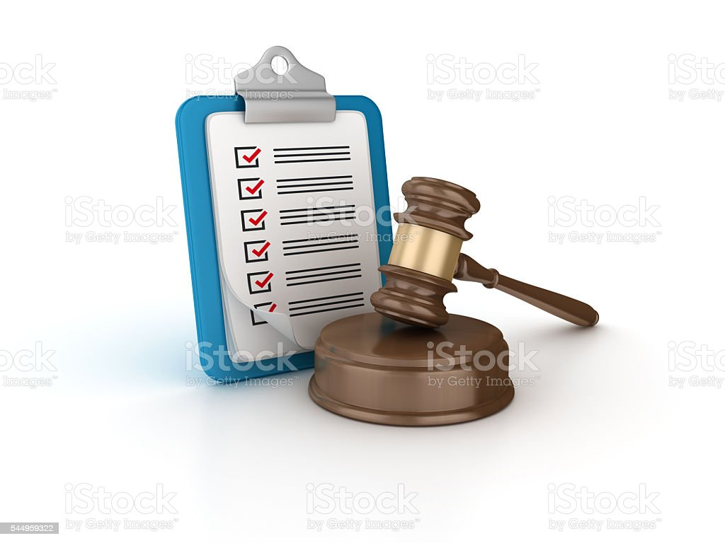 Gavel with Check List Clipboard stock photo