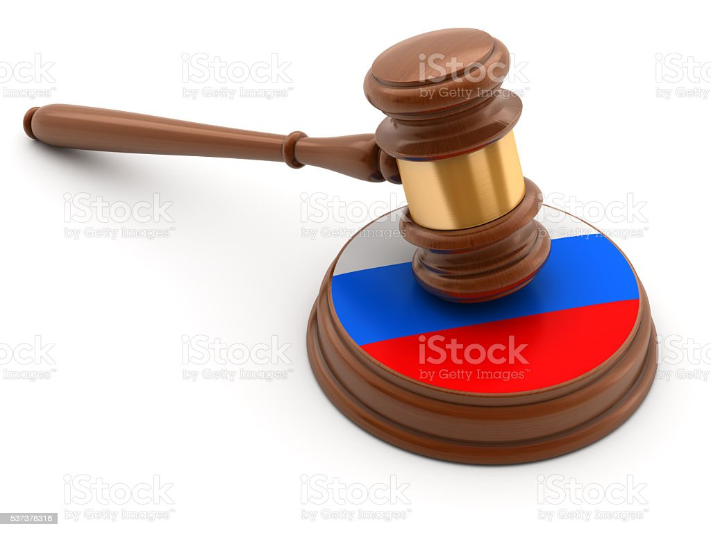 Gavel with flag of Russia on anvil stock photo