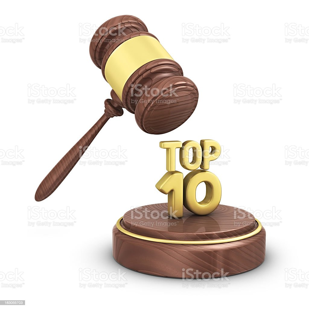 gavel with top 10 stock photo