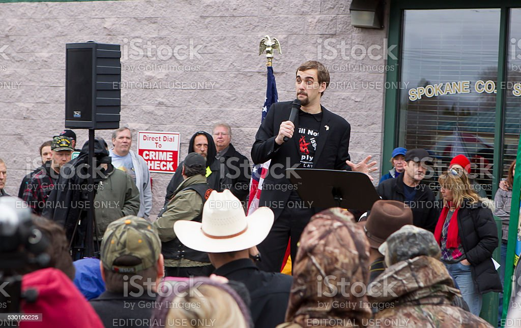 Gavin Seim speaking. stock photo