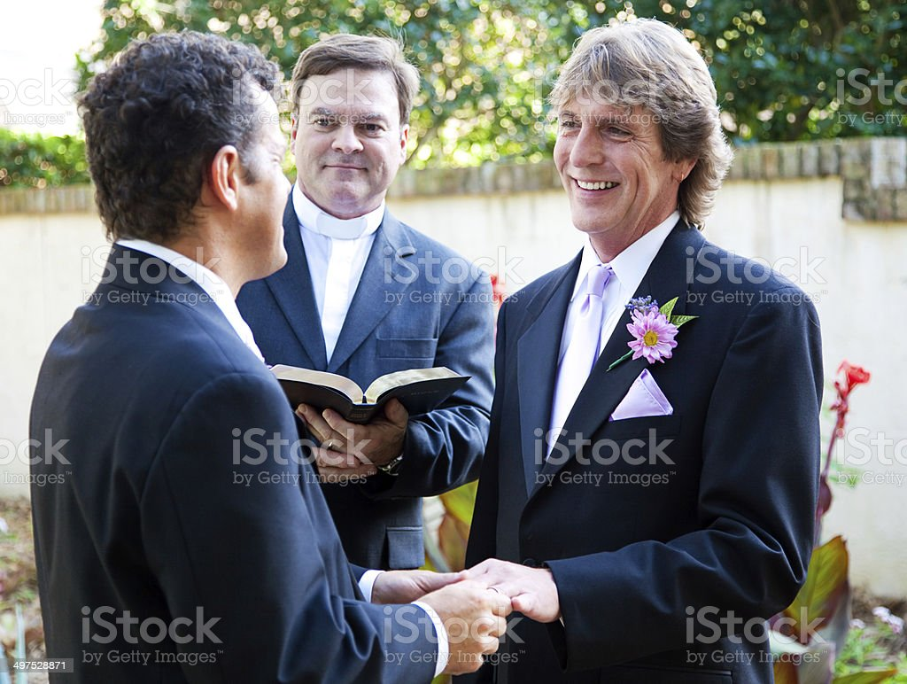 Gay Couple Exchanges Wedding Vows stock photo