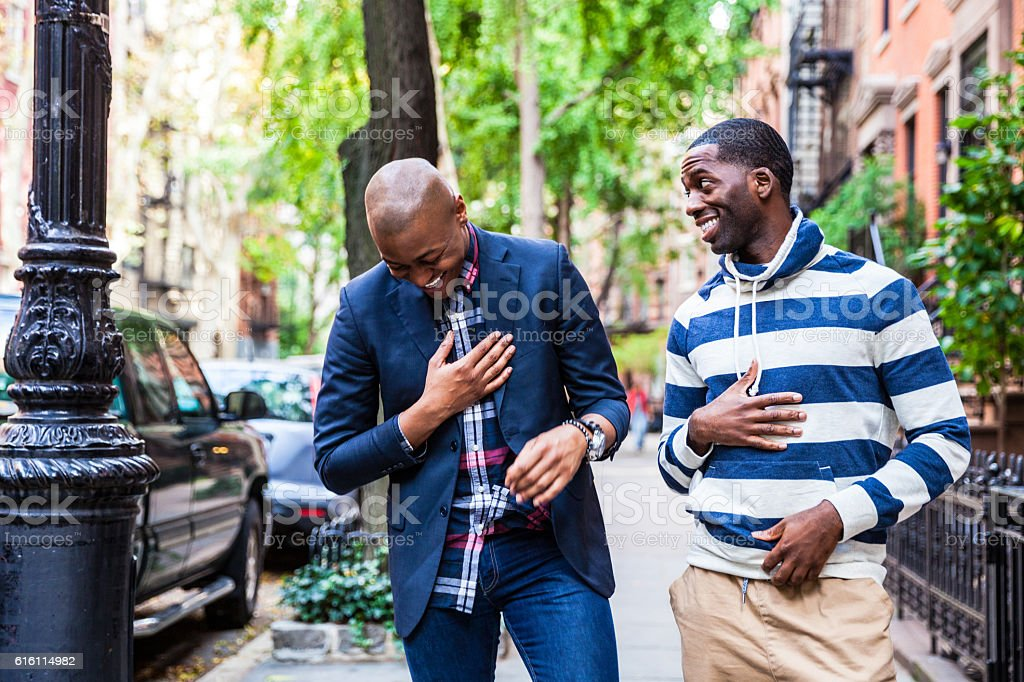 Gay couple hanging out in New York City stock photo