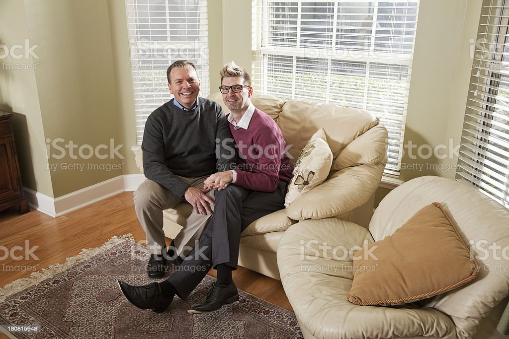 Gay couple indoors stock photo