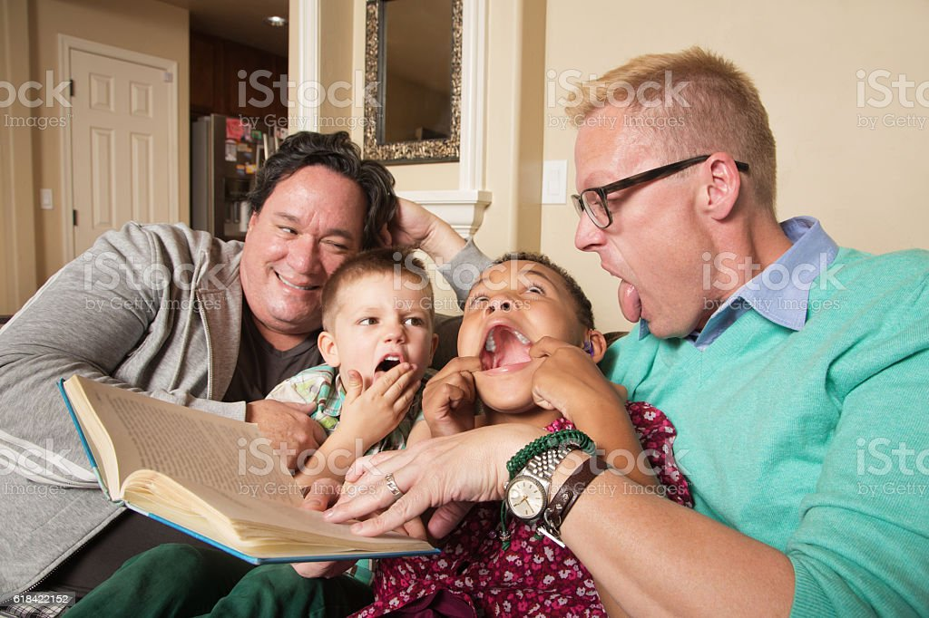 Gay Couple with Children stock photo