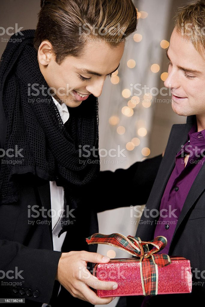 Gay Couple WIth Gift - Special Occasion royalty-free stock photo
