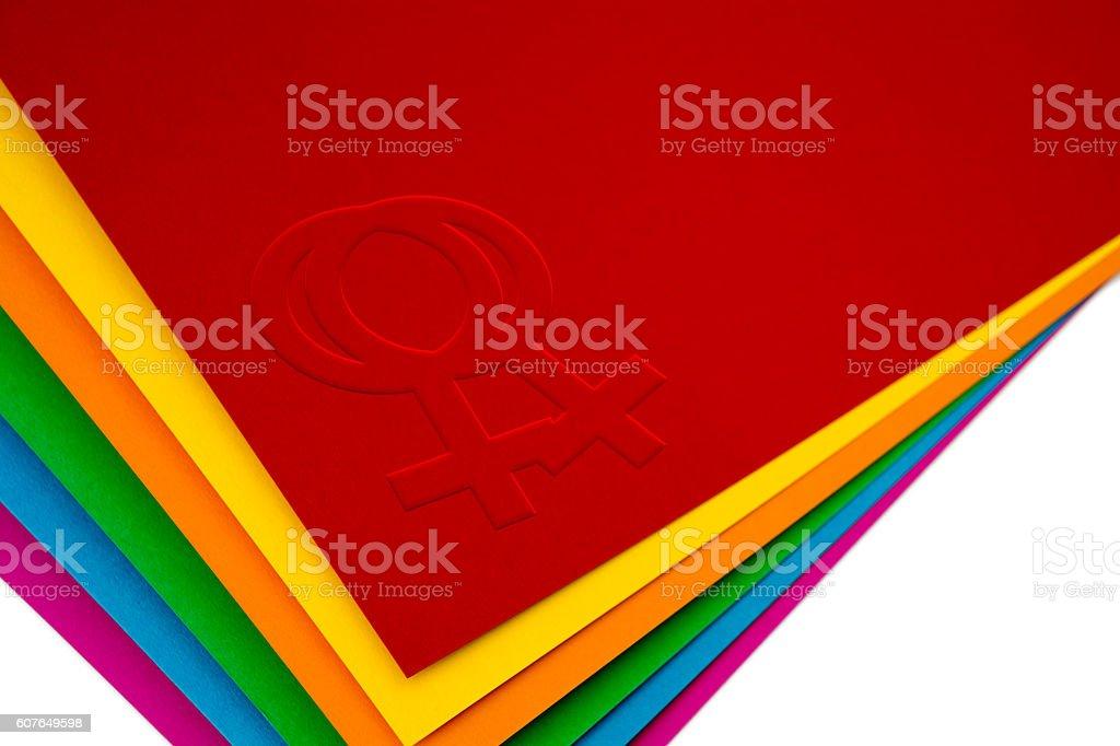 Gay Female Lesbian Symbol Rainbow LGBT Cardboard stock photo