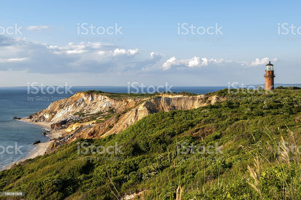 Gay Head Light and Aquinnah Cliffs at Martha's Vineyard stock photo