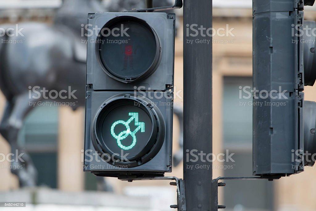 Gay homosexual gender symbol pedestrian crossing sign. Gay Pride stock photo