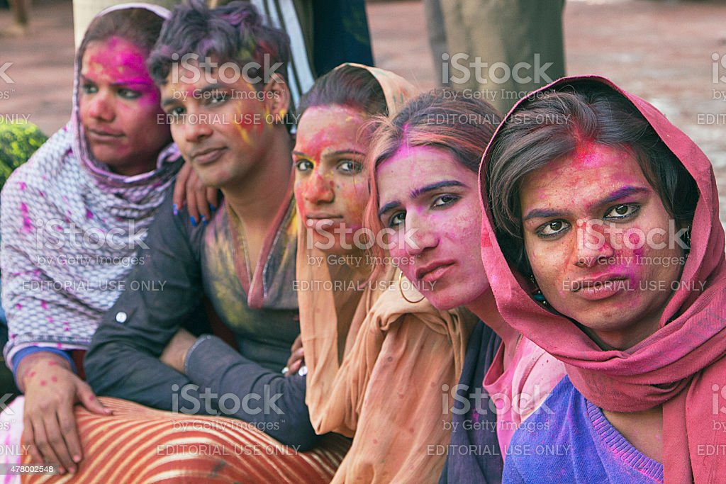 Gay Indian group watching Holi Festival stock photo