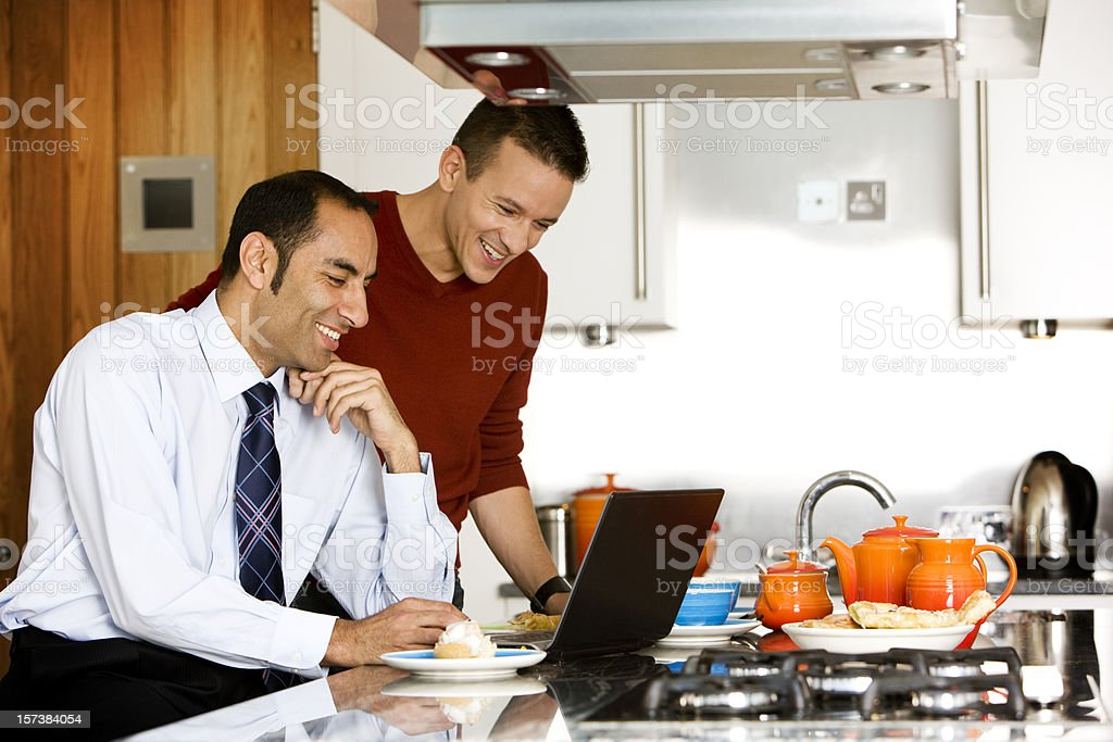 gay lifestyle: surfing the web royalty-free stock photo