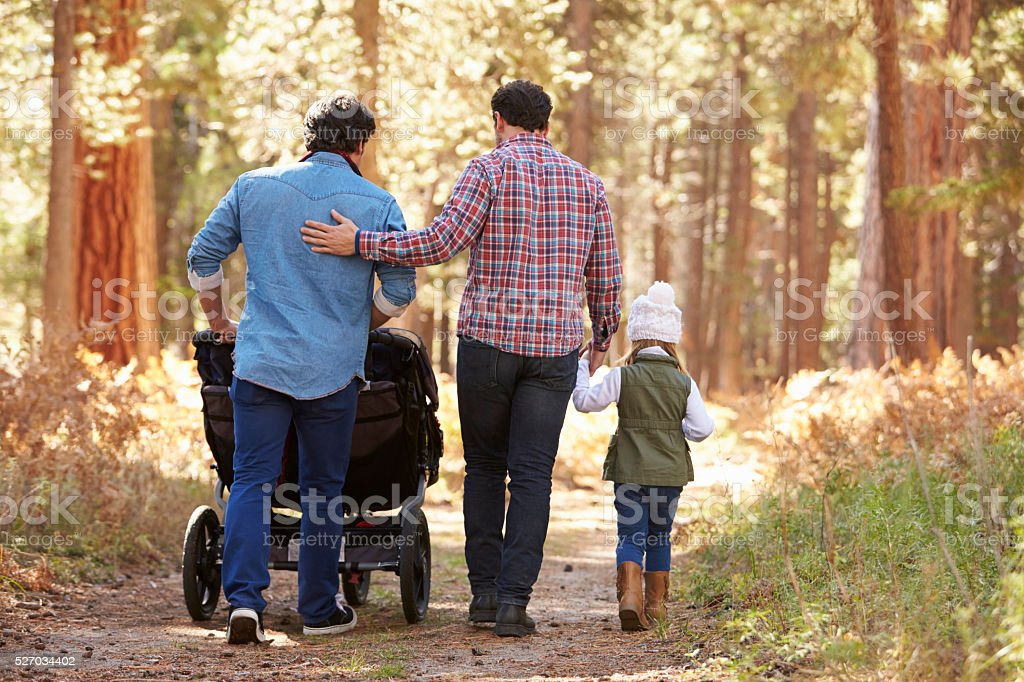 Gay Male Couple Pushing Children In Buggy Through Woods stock photo