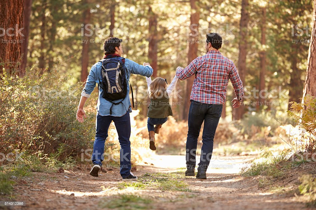 Gay Male Couple With Daughter Walking Through Fall Woodland stock photo
