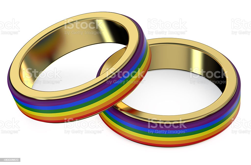 Gay Marriage Concept with Rainbow Rings vector art illustration