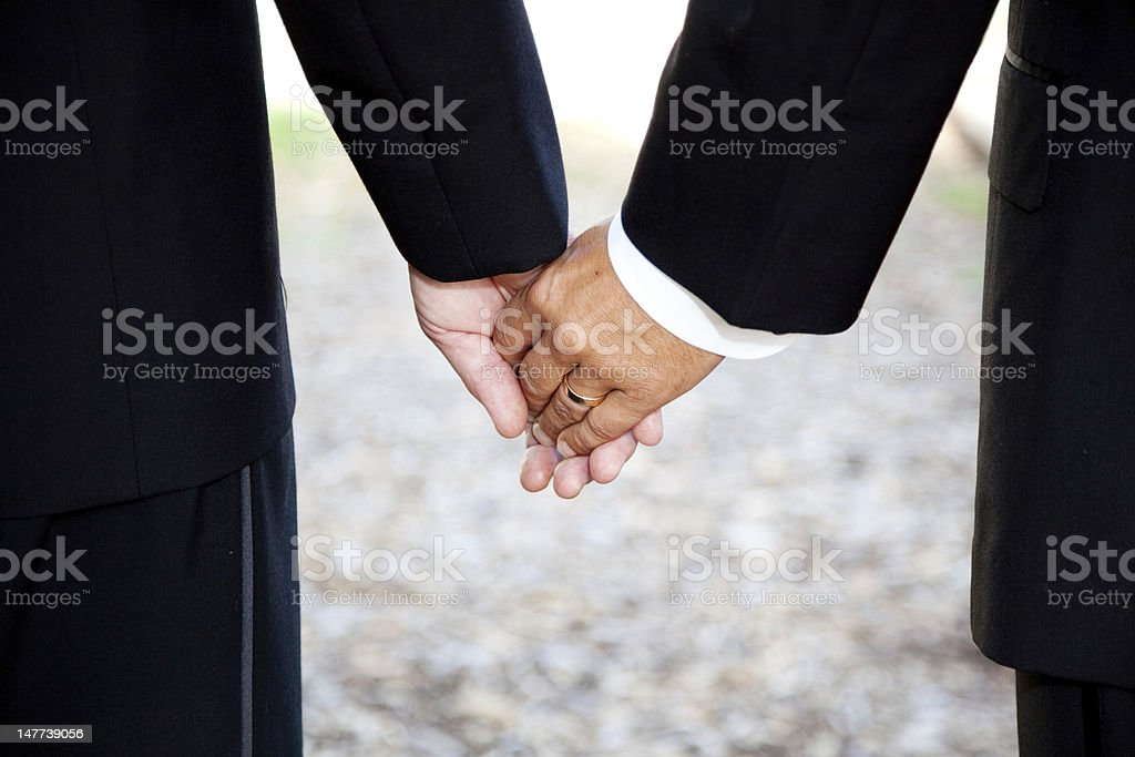 Gay Marriage - Holding Hands Closeup stock photo