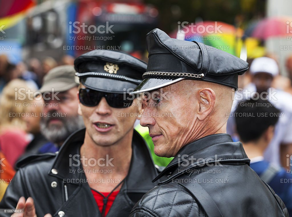 Gay men dressed in leather at Pride 2014 Copenhagen stock photo