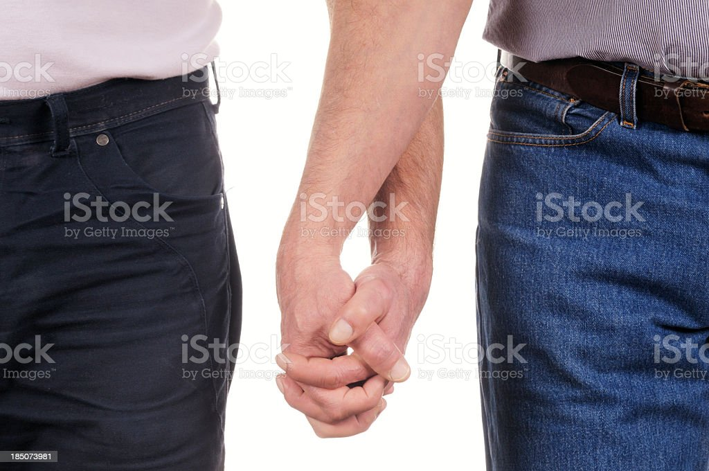 Gay Men Holding Hands. Isolated. royalty-free stock photo