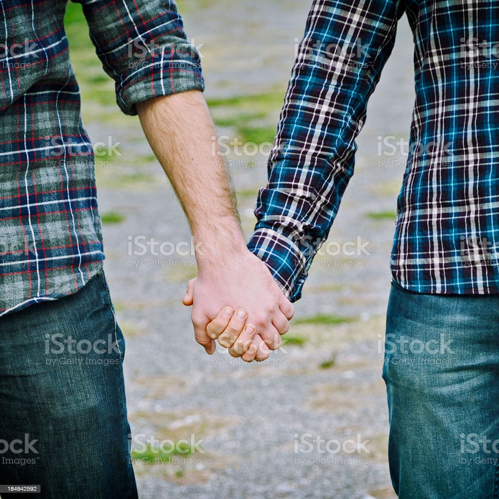 Gay Men Holding Hands royalty-free stock photo