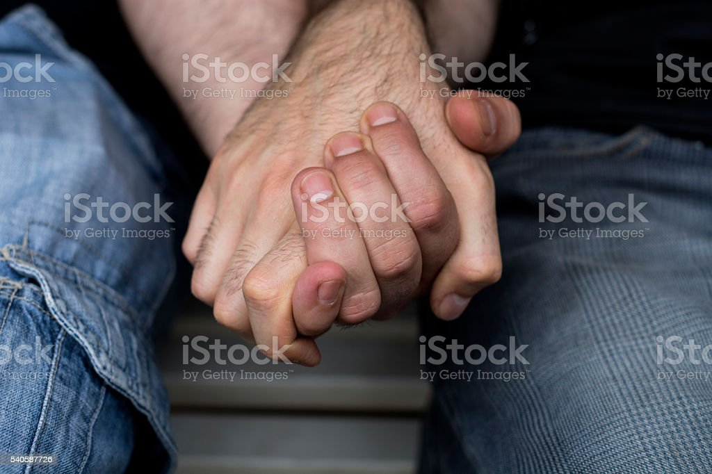 Gay Men Holding Hands stock photo