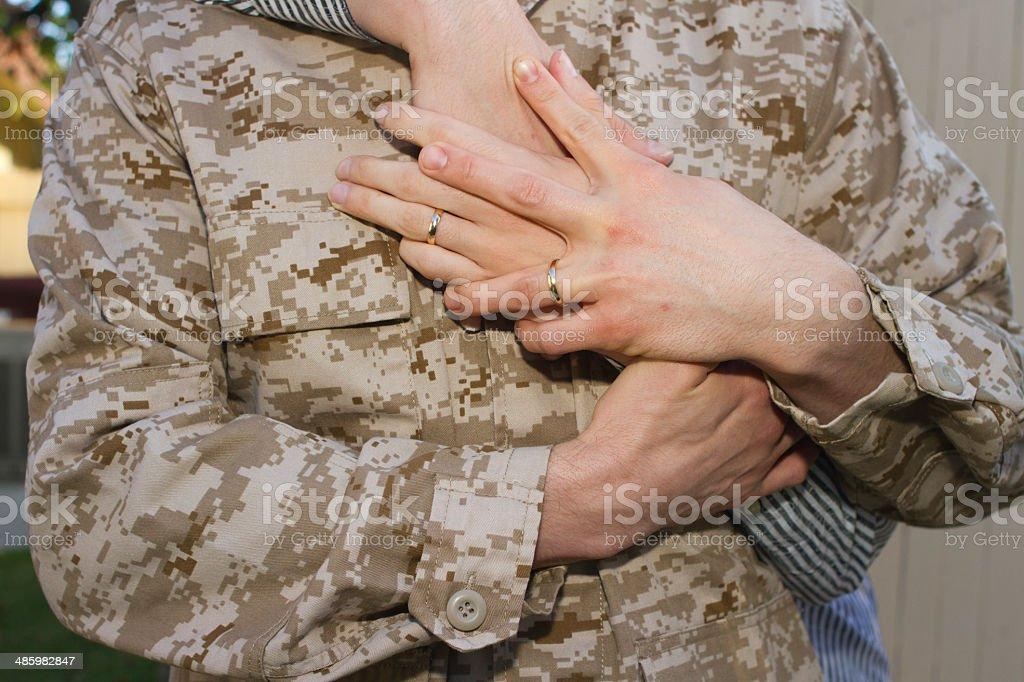Gay Military Partners Hug CU royalty-free stock photo