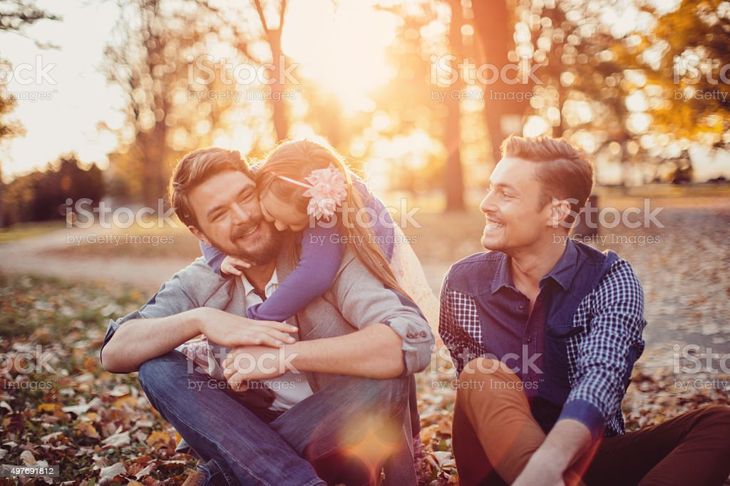 Gay Parents with daughter stock photo