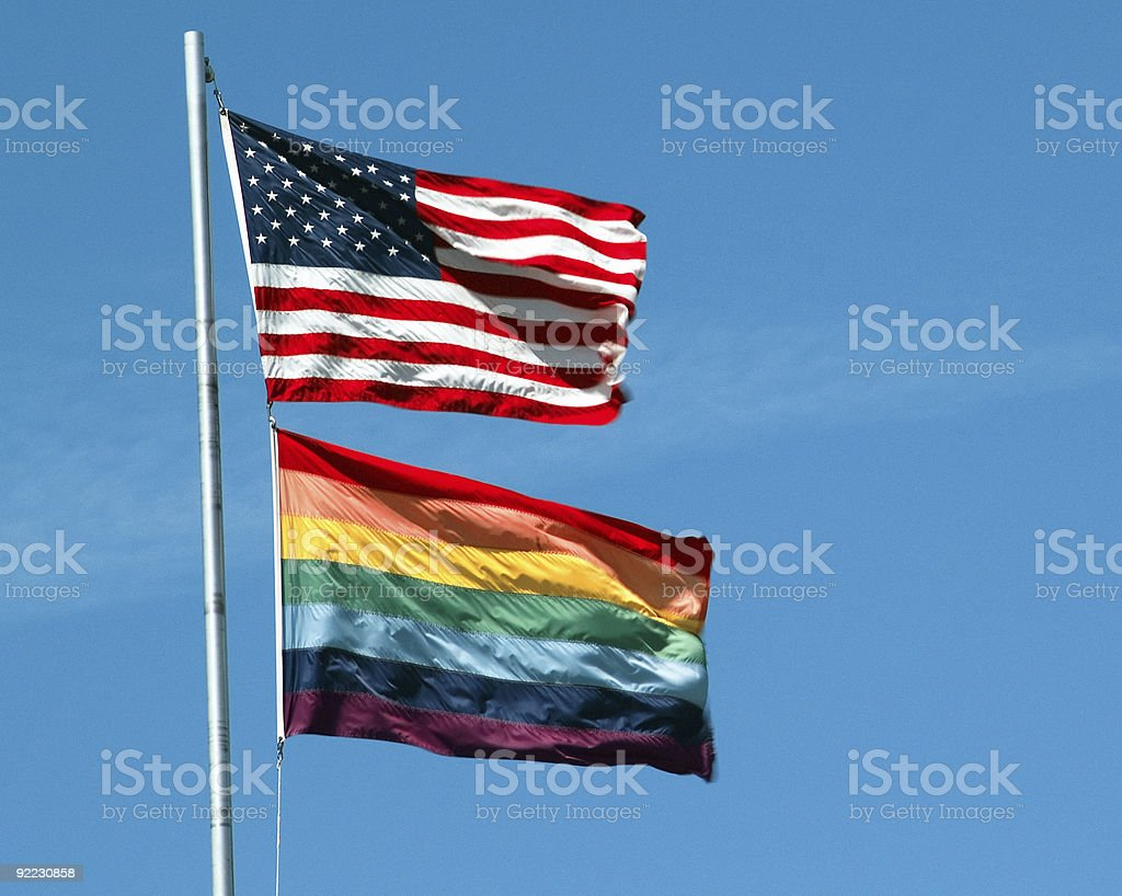 Gay Pride and American flags stock photo