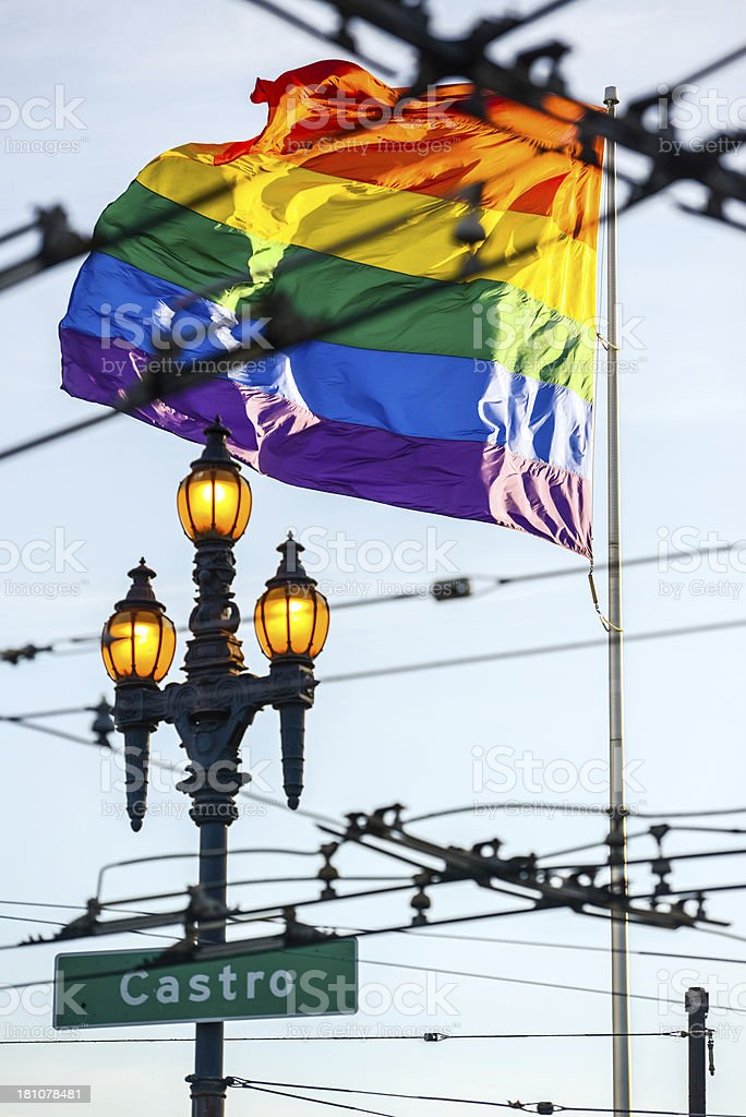 Gay Pride Flag in Castro District of San Francisco royalty-free stock photo