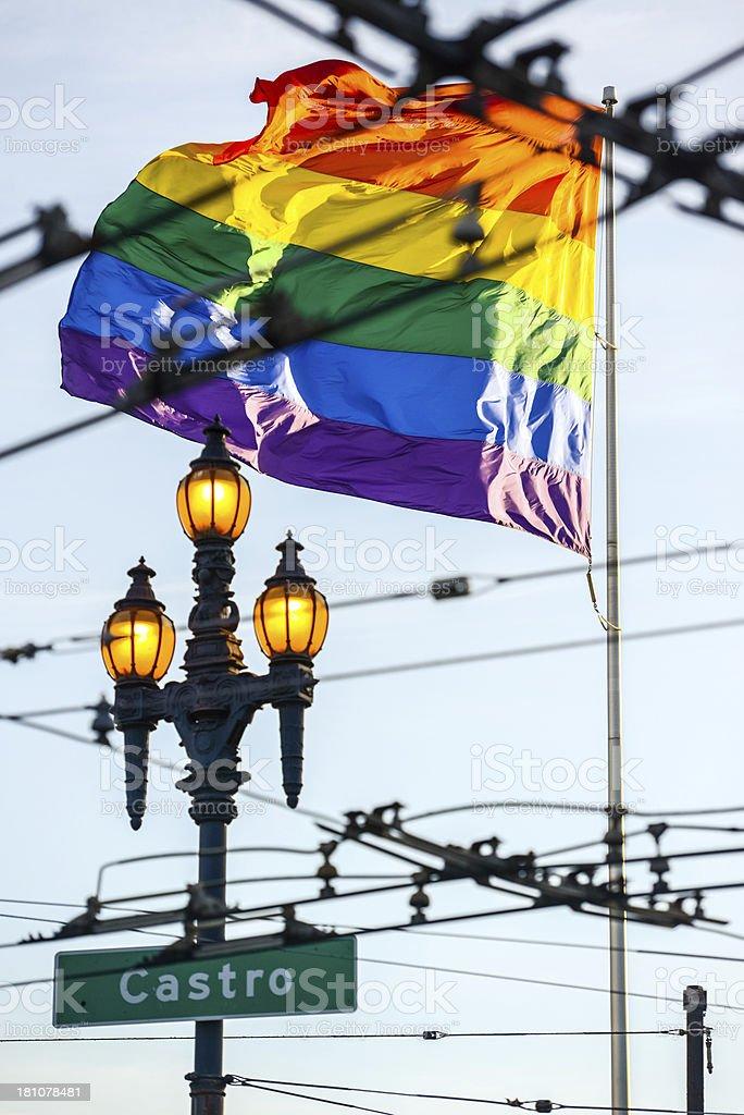 Gay Pride Flag in Castro District of San Francisco stock photo
