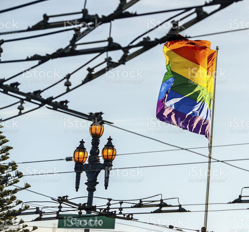 Gay Pride Flag in Castro District of San Francisco stock photo