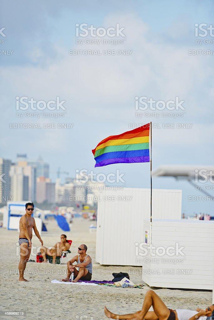 Gay Pride Flag on the Beach, USA royalty-free stock photo