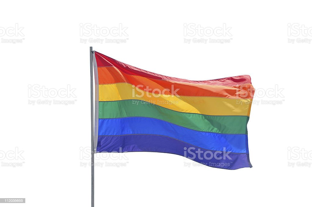 Gay Pride Flag Pole Isolated on White Background stock photo