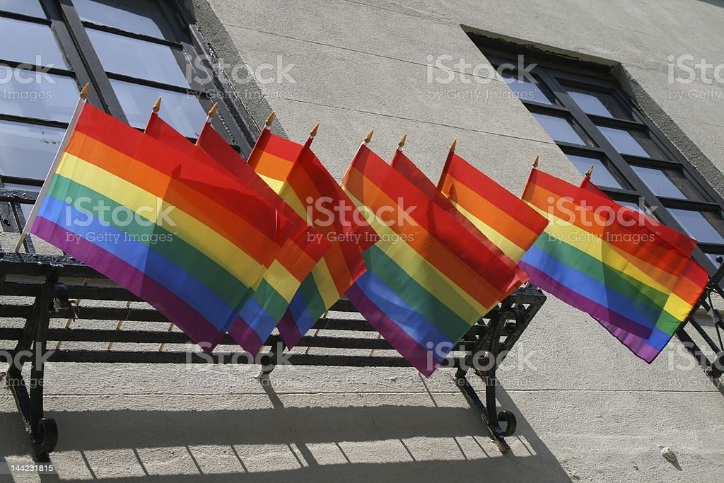 Gay Pride Flags Flying From Balcony royalty-free stock photo