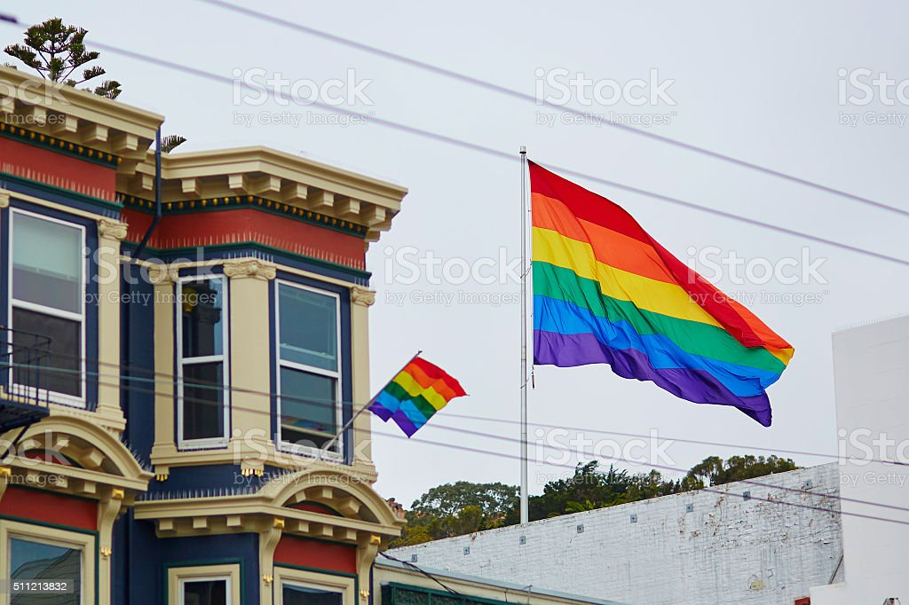 Gay Pride Movement flag on a street of San Francisco stock photo