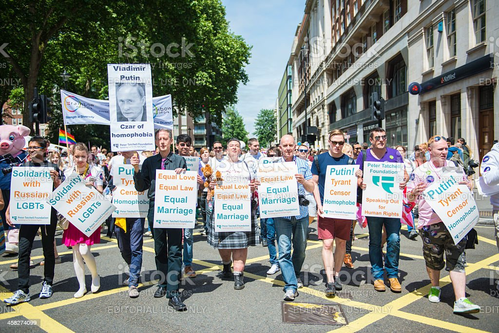 Gay Pride parade against Putin stock photo