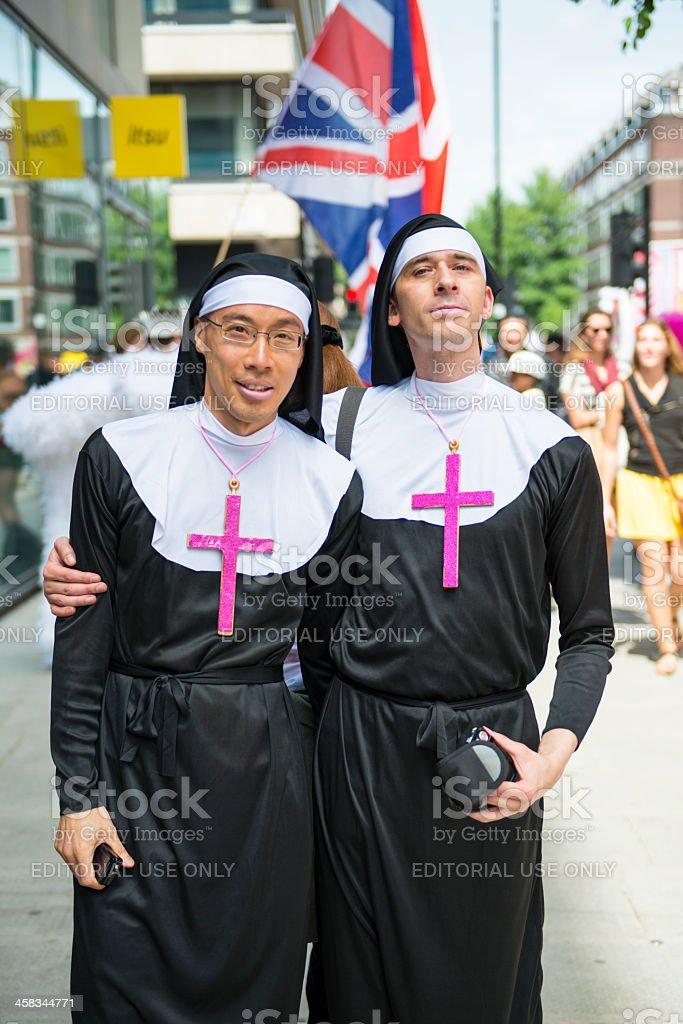 Gay Pride parade participants dressed as nuns stock photo