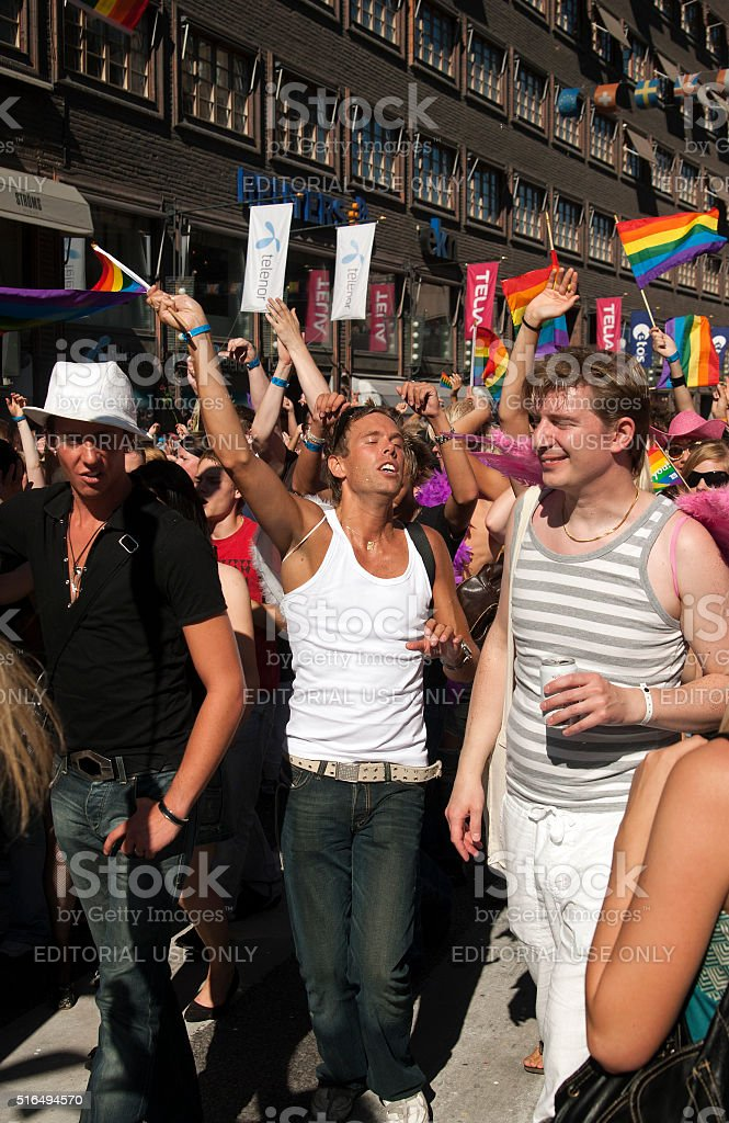 gay pride parade stockholm sweden stock photo