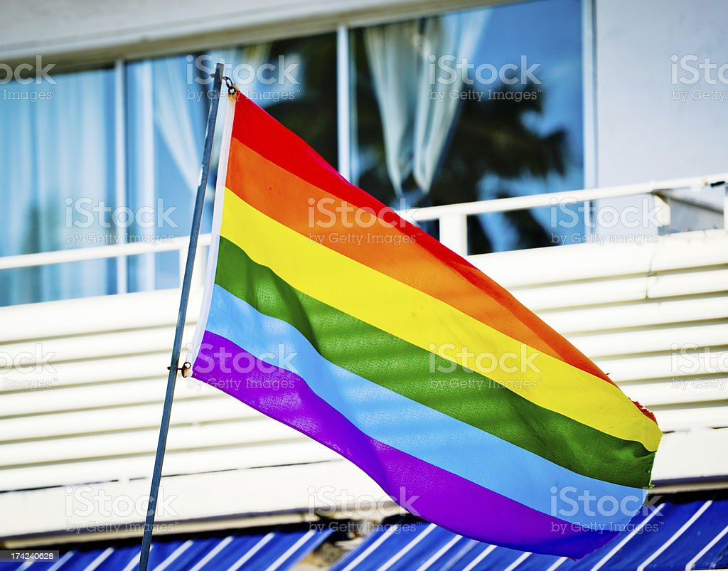 Gay Pride Rainbow Flag on Building, Miami Beach, USA royalty-free stock photo