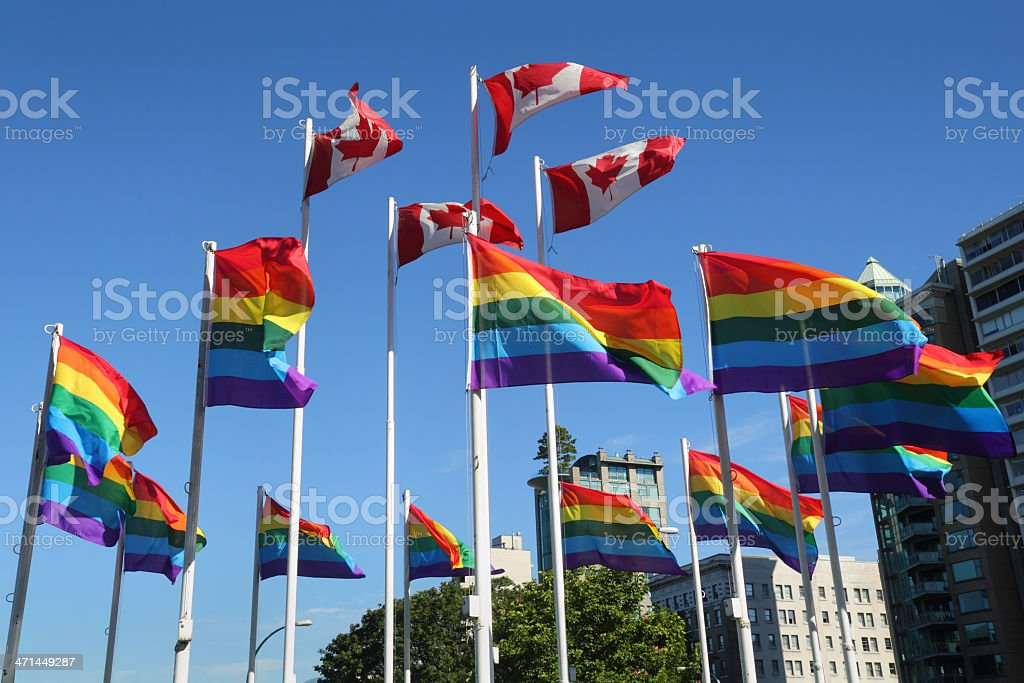 Gay Pride Rainbow Flags, Vancouver stock photo