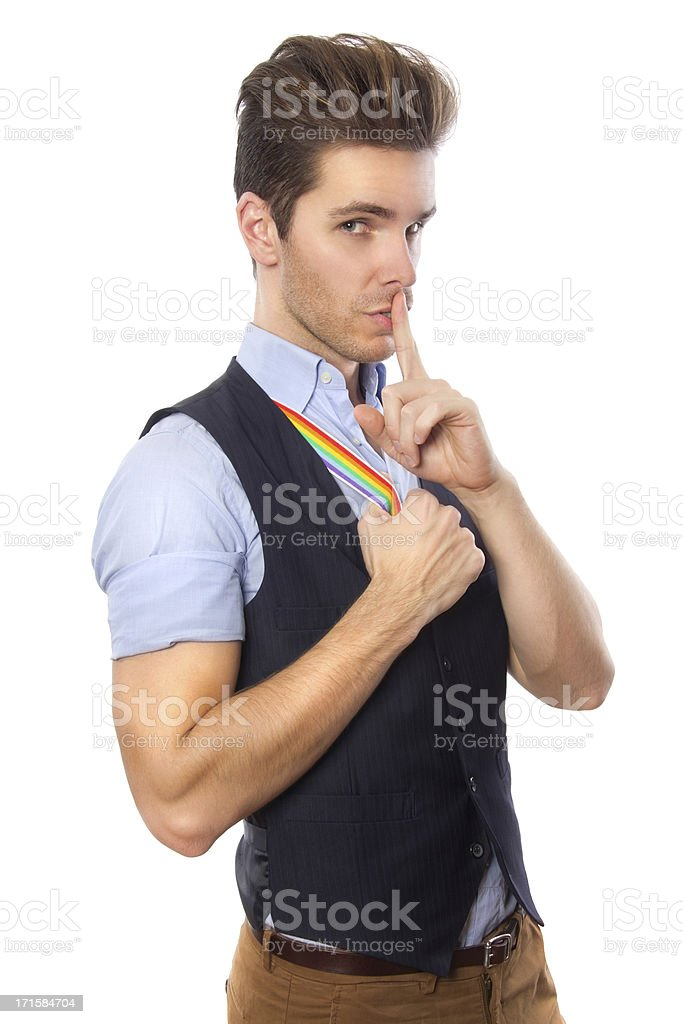 Gay Pride Silence In the Workplace stock photo