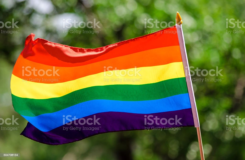 Gay rainbow flag stock photo
