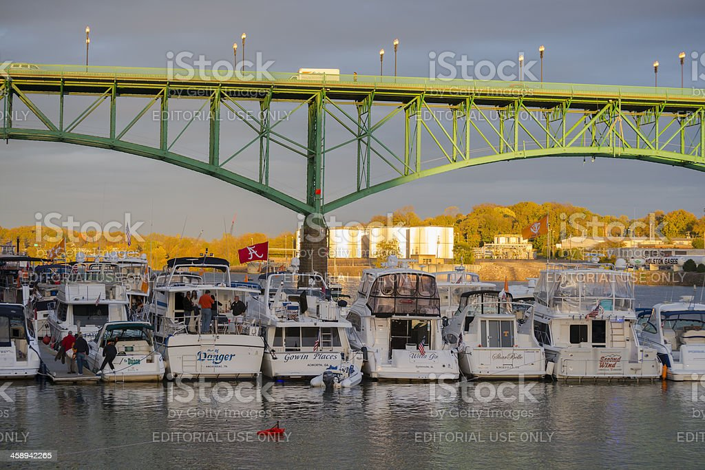 Bridge and boats in Knoxville Tennessee stock photo