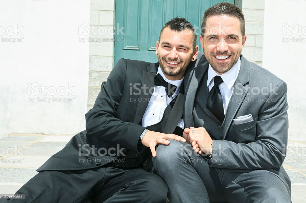 Gay Wedding - Fun moment stock photo