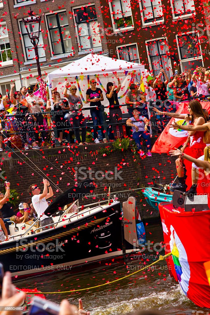 Gaypride Canal Parade Amsterdam stock photo