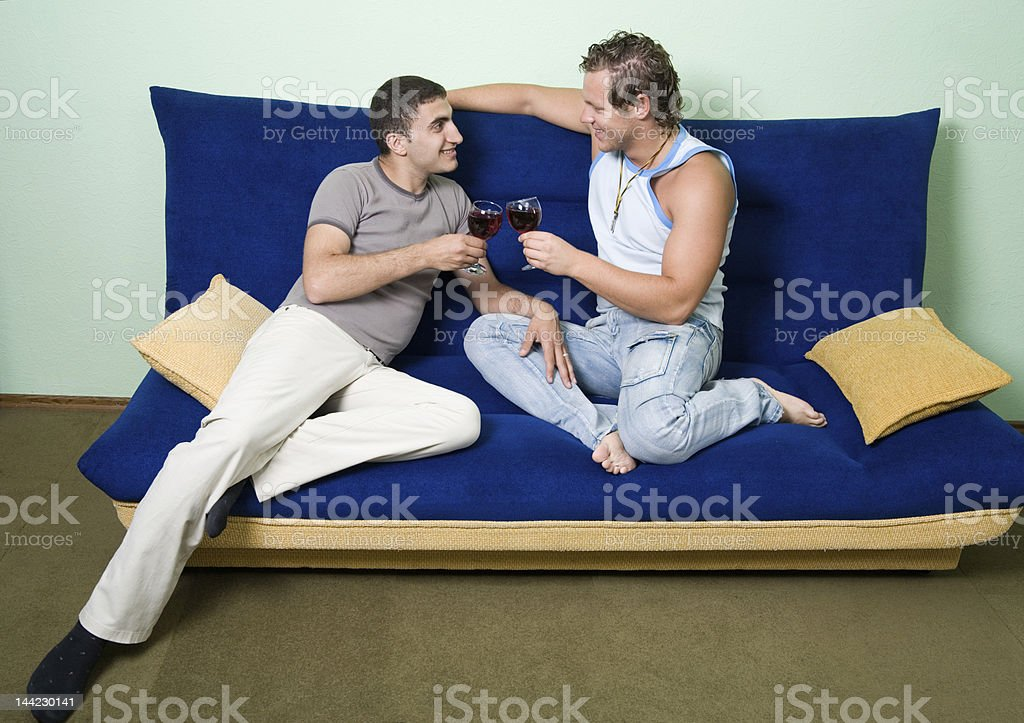 Gays drinking wine royalty-free stock photo