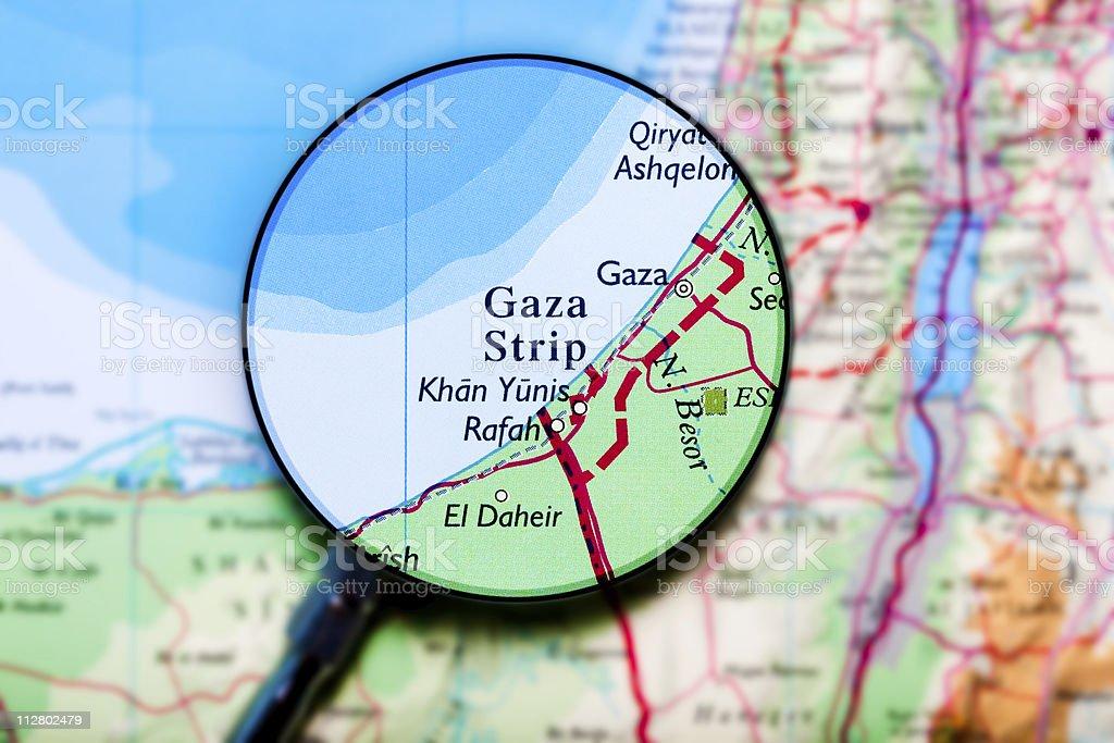 Gaza Strip under loupe royalty-free stock photo