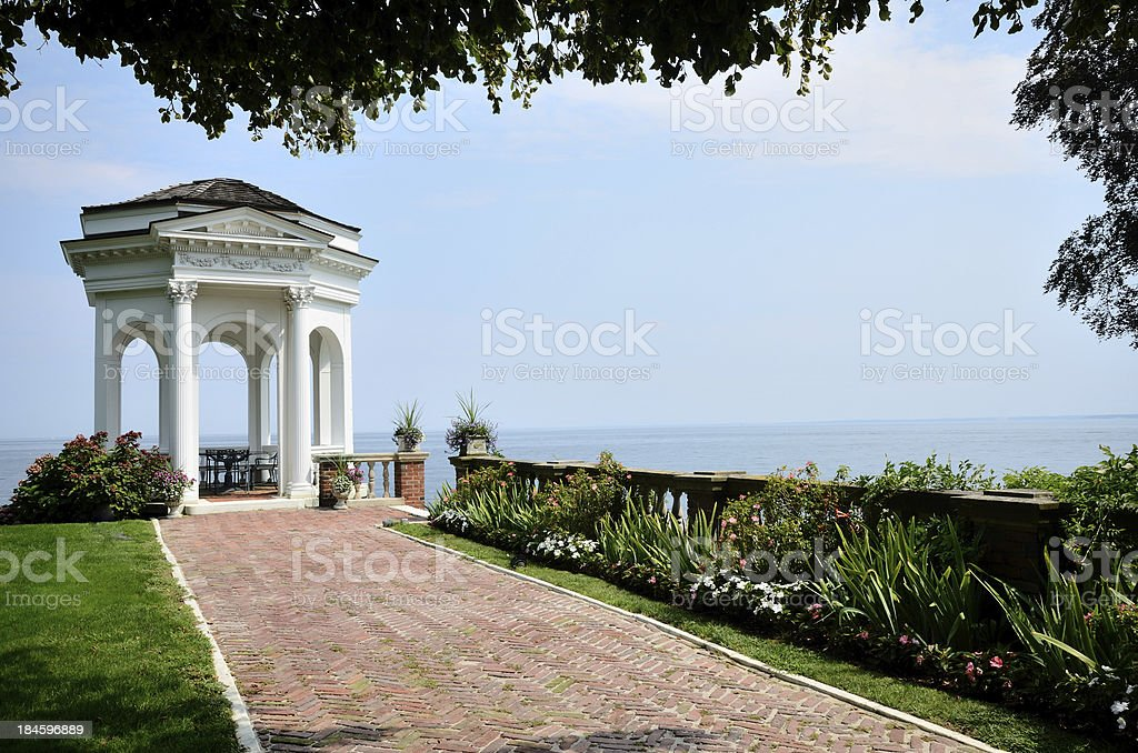 Gazebo and Brick Walk royalty-free stock photo