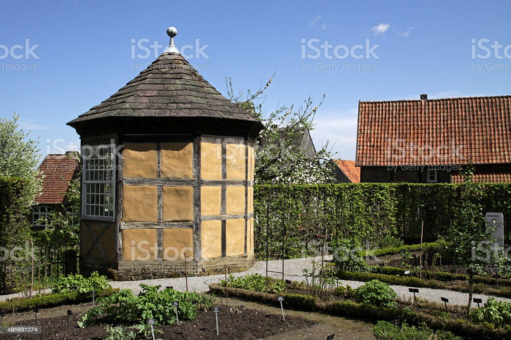 Gazebo in half timbered construction stock photo