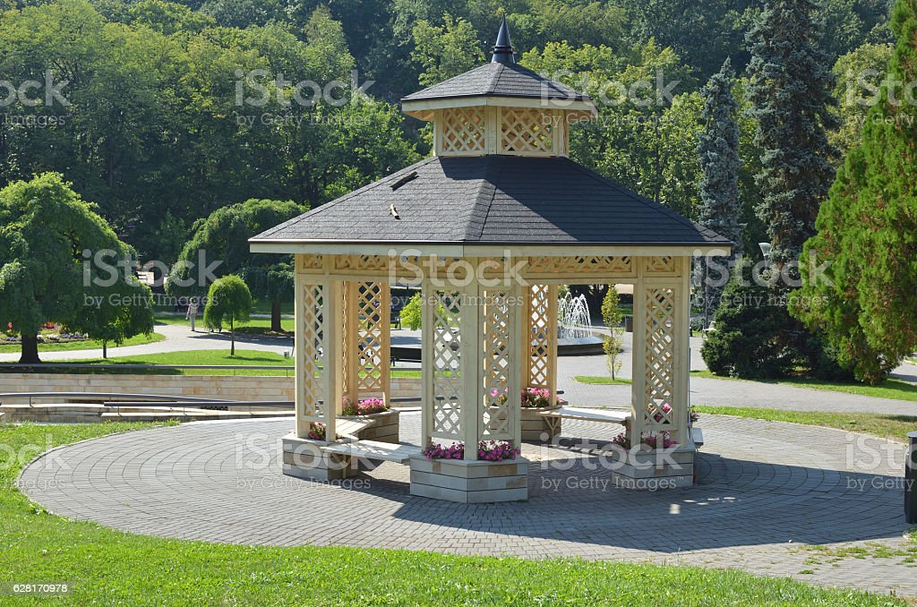 Gazebo in Park stock photo