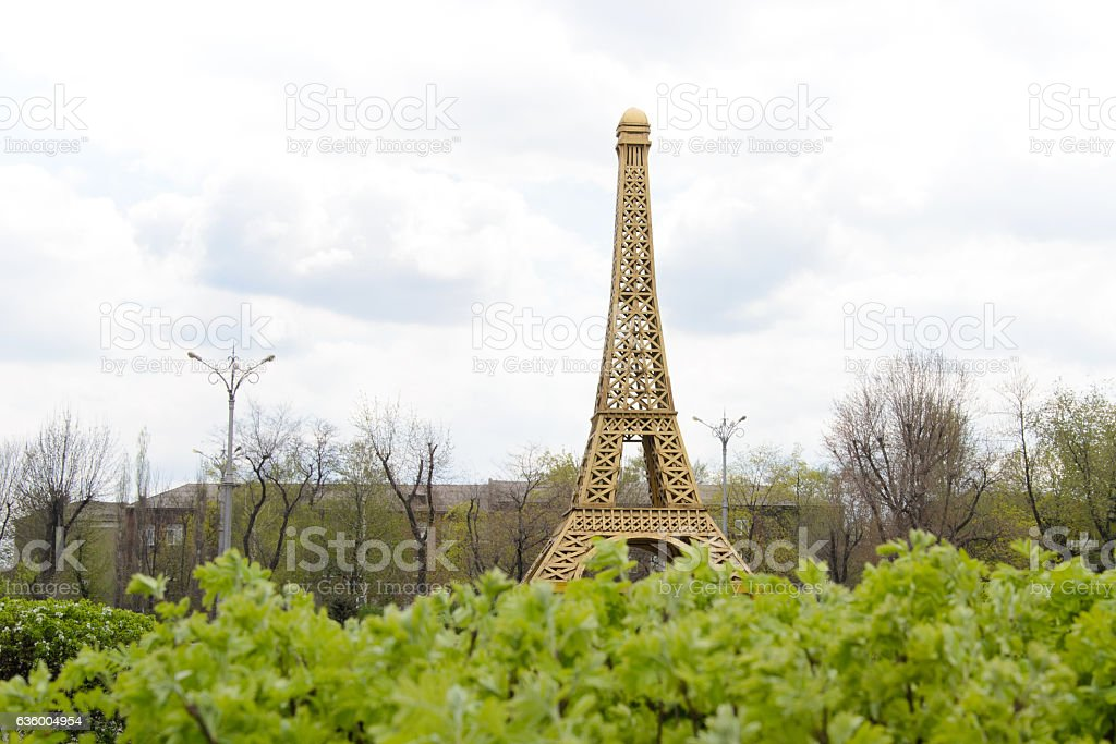gazebo in the form of the Eiffel Tower stock photo