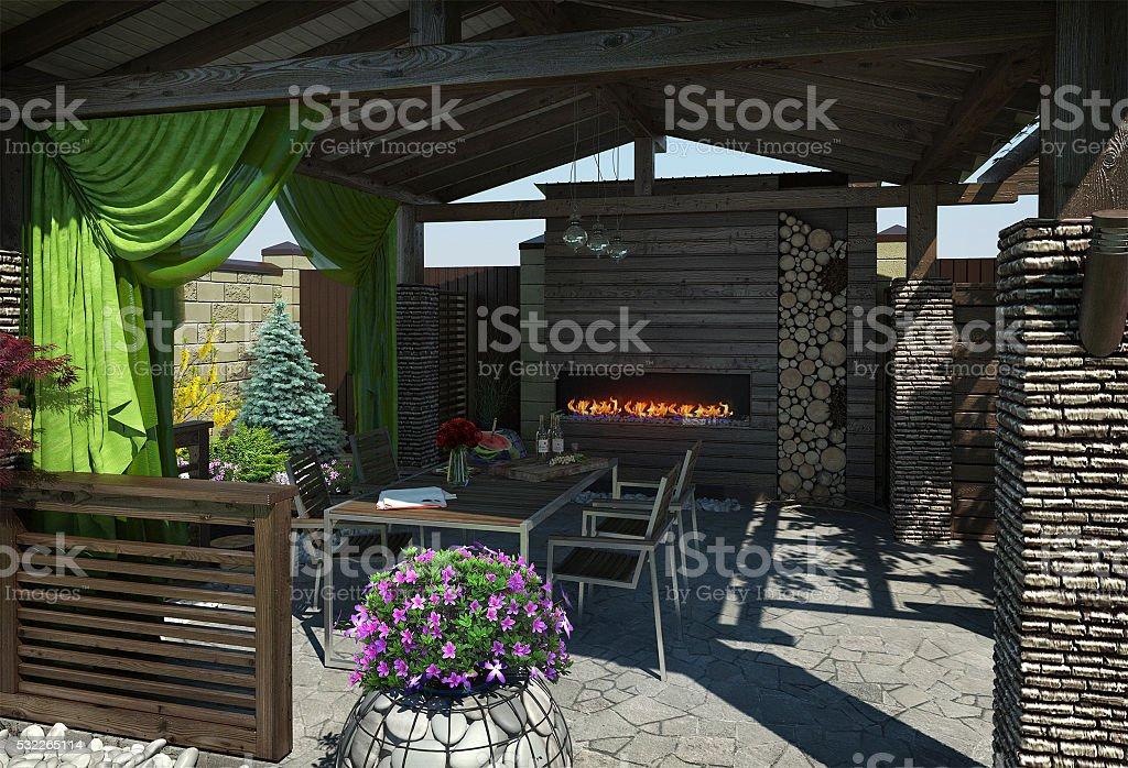 Gazebo inviting interior, 3D render stock photo