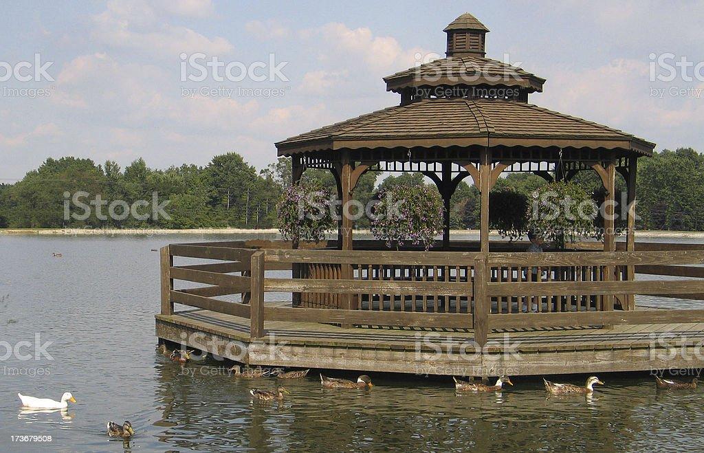 Gazebo On A Dock royalty-free stock photo